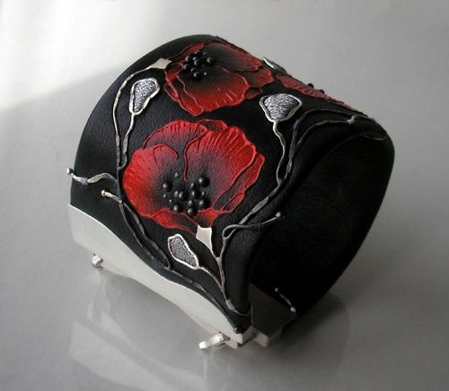 Cuff bracelet | Jolanta Bromke. Leather, sterling silver and waterproof and abrasion resistant paint.