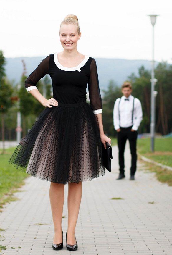 Fanfaronada tylová sukně champagne s černými puntíky, exkluzivní kolekce - PoshMe.cz