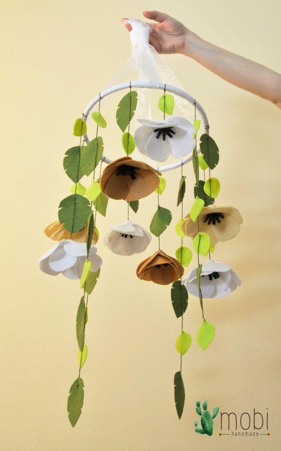 Handmade Flower Mobile || Baby Mobile || Nursery Mobile || Crib Mobile || Felt Mobile || Baby decor || Nursery decor || Baby shower gift by MobiHandmadeShop