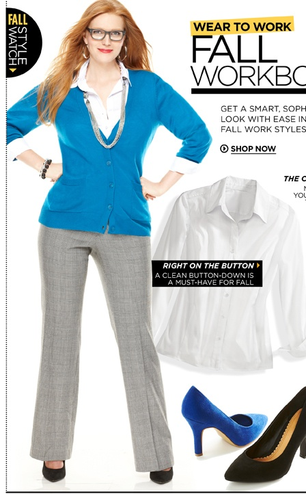 www.avenue.com This is a website that is geared toward plus size women clothing. Women can get clothes from exercise to work to fashion. They also sell boots, coats, and accessories for women as well.