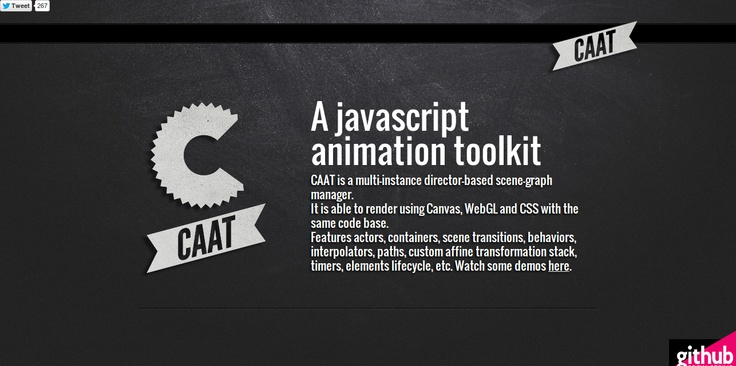 CAAT : A javascript animation toolkit. CAAT is a multi-instance director-based scene-graph manager.  It is able to render using Canvas, WebGL and CSS with the same code base.  Features actors, containers, scene transitions, behaviors, interpolators, paths, custom affine transformation stack, timers, elements lifecycle, etc.