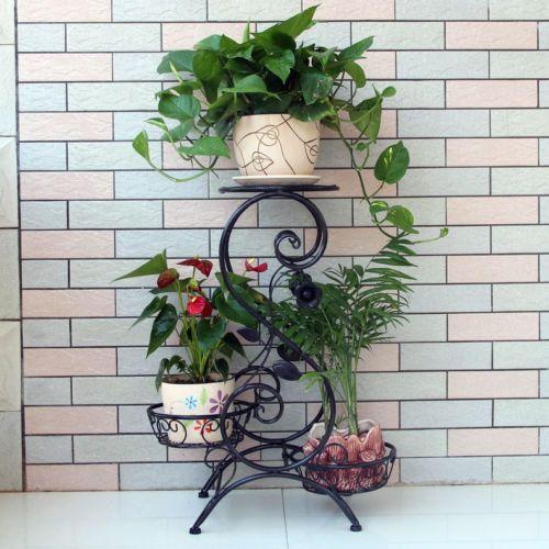 Outdoor Indoor Garden Quality Metal Pot Plant Stand 3 Tier