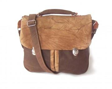 torby na ramię - damskie-Teczka BRĄZ pomięta skóra