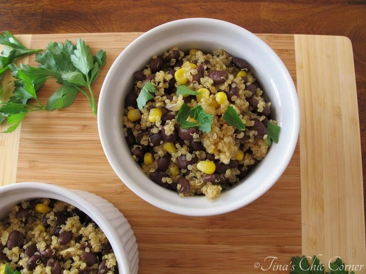 Quinoa & Black Bean recipe...healthy, simple, and delicious!  The wonderful blend of these spices gives it a Mexican twist, especially since there are black beans in this dish.  www.tinaschic.com