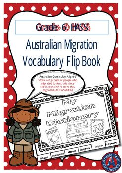 Grade 6 HASS  Australian Migration  Vocabulary Flip BookI have designed this…