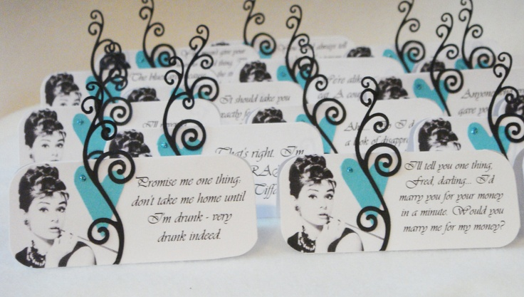 Breakfast at Tiffany's Quote Place Cards, Set of 16. $6.25, via Etsy.