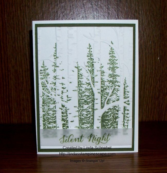 Simply Sunday: Silent Night created with the Wonderland stamp set and Woodland Textured Embossing folder. Makes a beautiful Christmas card or Masculine Birthday card. http://lindasstampinescape.com