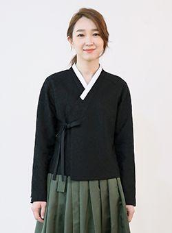 목단 레이스 저고리 [블랙]