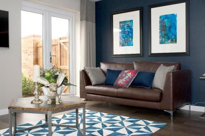 I Love The Navy Wall And Dark Brown Leather Sofas With Teal Accent Brown Leather Couch Living Room Living Room Decor Brown Couch Brown Leather Sofa Living Room