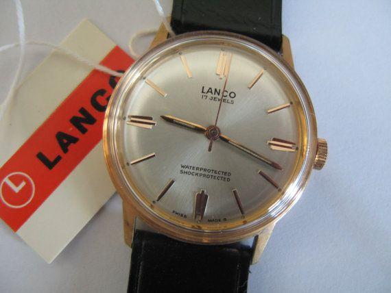 51c48e534c9 Vintage rare Lanco Swiss watch 420 17j NIB with tags mens wristwatch - Gift  for him