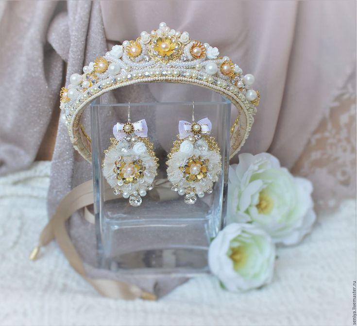 Купить Свадебная диадема и серьги - золотой, диадема, диадема невесты, диадема свадебная, диадема с жемчугом