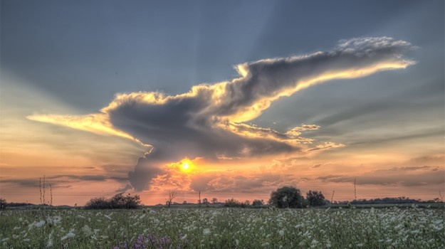 Sunset Cloudscape Over The Hungarian Great Plain