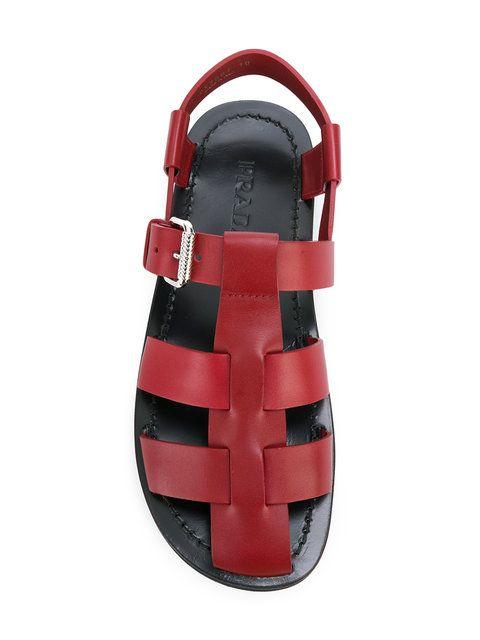 0b70ffc1dc8a Shop Prada caged gladiator sandals.