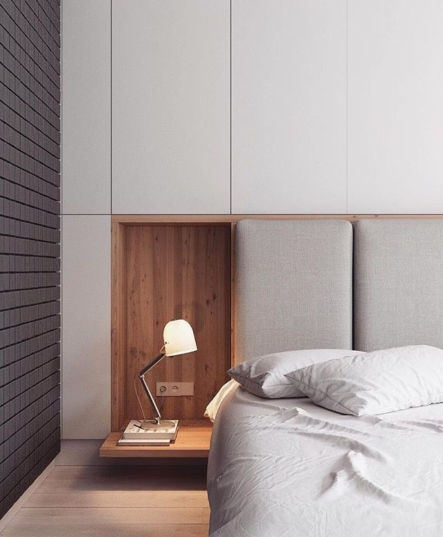 Custom millwork and upholstered inlay headboard for bedhead and bedside table idea
