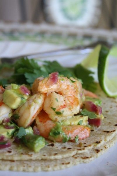 LIME & CILANTRO SHRIMP TACOS   Just Delicious I am not a huge cilantro fan but these look good