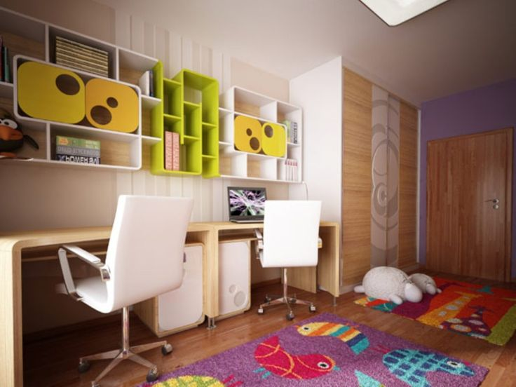 Kids Room: Modern Plywood Study Table With Colourful Book Selvhing And  Laminate Floors Also White Swivel Chairs Design Ideas: Original Childrenu0027s  Bedroom ... Photo