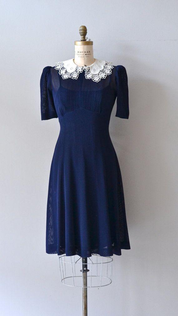 1930s dress | vintage 30s blue dress