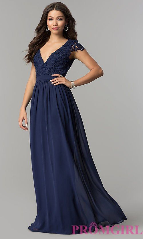 a97f83a065c6 Image of long open-back chiffon prom dress with cap sleeves. Style:  LP-25067 Front Image