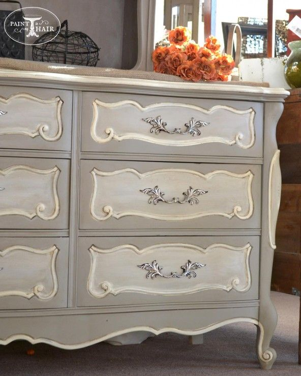 Painted Furniture : Gray and White French style Dresser :: could be done with chalk paint