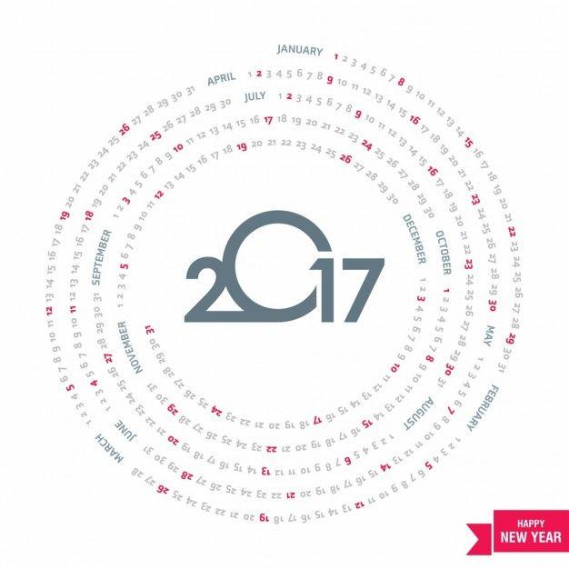 Calendario circular para 2017 Vector Gratis
