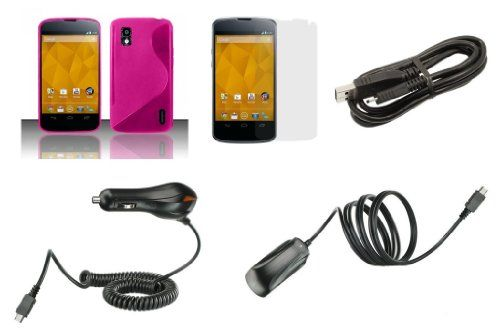 LG Google Nexus 4 E960 (T-Mobile) Premium Combo Pack - Hot Pink S Line Flexible TPU Cover + ATOM LED Keychain Light + Screen Protector + Wall Charger + Car Charger + Micro USB Cable Bemz Depot Atom LED keychain light. Hot Pink thermoplastic polyurethane (TPU) silicone gummy shield flexible skin case cover and clear screen protector with cleaning cloth and easy installation instructions. Car... #Atom #Wireless