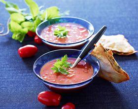 Frysemad: Grov tomatsuppe med gratinerede tortillas   Delikat suppe, der kan fryses ned