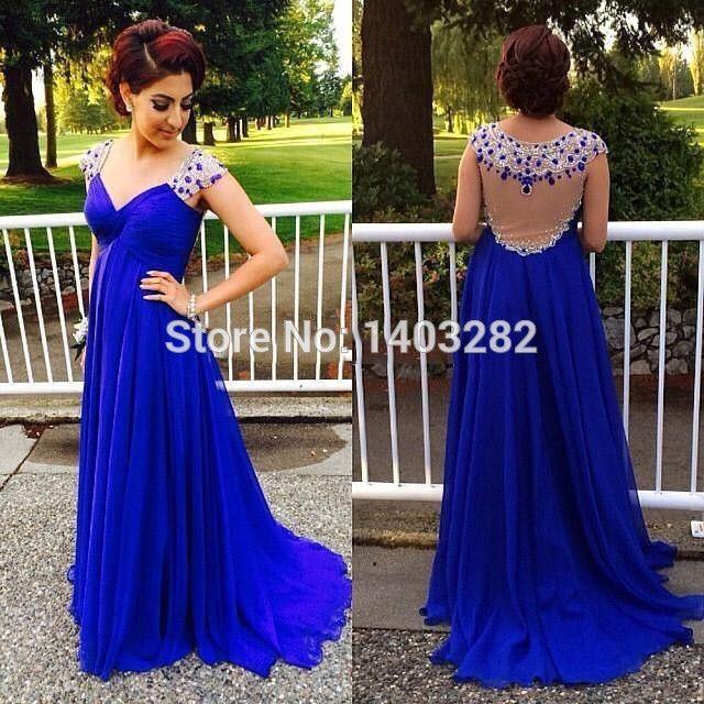 Royal Blue Sexy Long Evening Dresses 2016 Beaded See Through Back Formal Women Evening Dresses Gowns Vestido De Noche Elegante