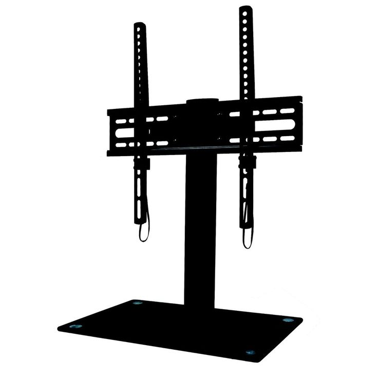 "Floor TV Stand Furniture With Mount & Tempered Glass Base 23-55"" TV's Up To 88lb #Ematic"