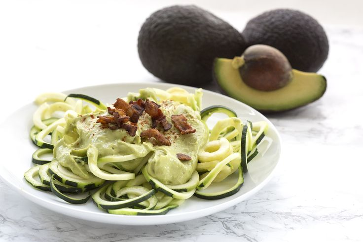 Avocado. Low in carbs, high in healthy fat and fiber, and they taste simply divine. This time, I combined the smooth guacamole over fresh Zoodles.