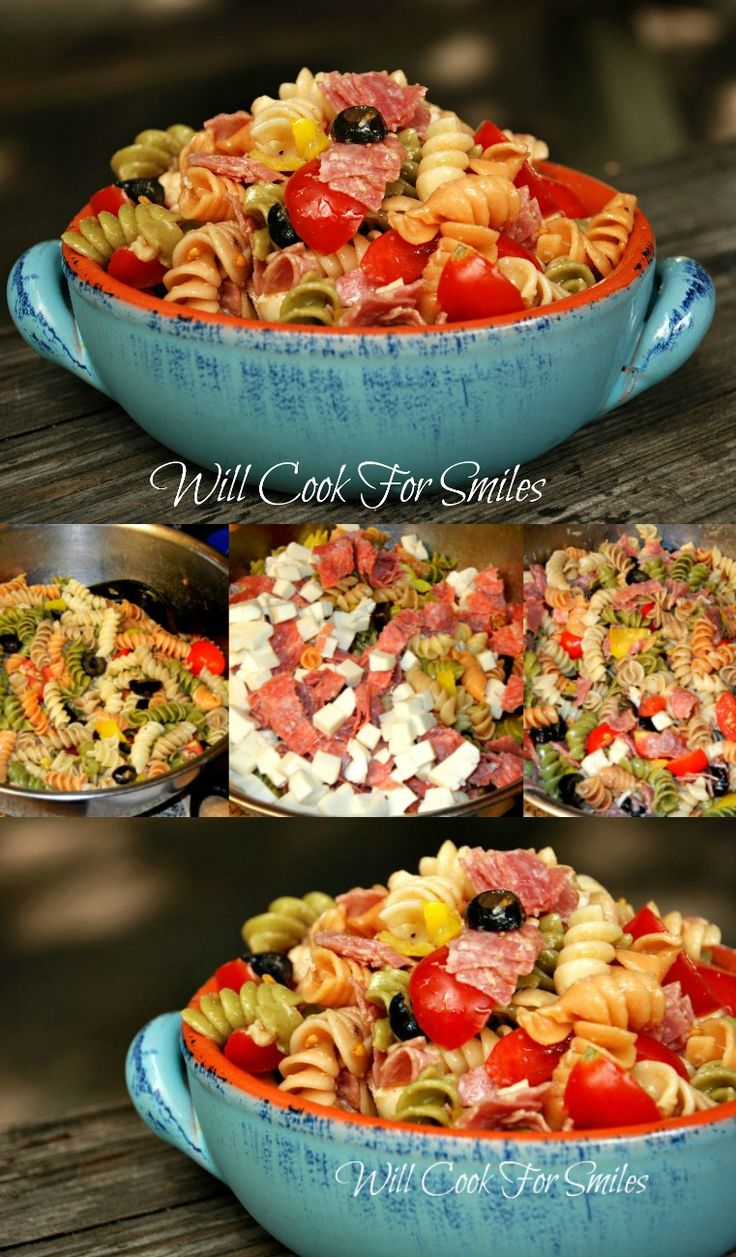 Antipasto Pasta Salad is loaded with salami, mozzarella, veggies and tossed in delicious dressing. willcookforsmiles.com