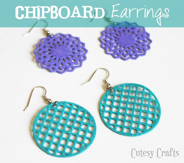 Chipboard Earrings by Cutesy Crafts!  Cut with a Silhouette....