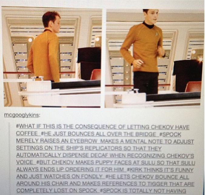 Awwwww! How much cuter can Chekov get?