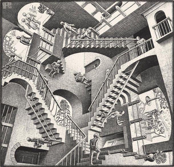 Escher, Relatività, 1953. Paradossi grafici tra arte e geometria