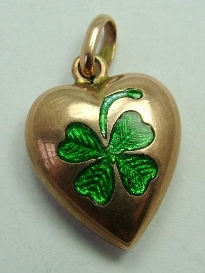 Gold Heart with Green Enamel Clover Leaf Charm. Sandys Vintage Charms.