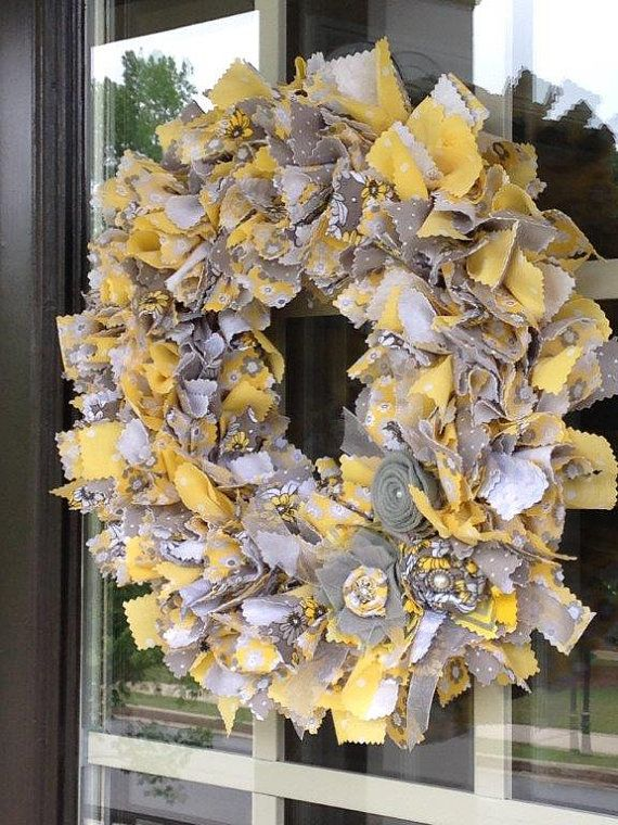 15in. Summer Yellow & Gray Cotton Rag Wreath by LilyWreaths, $45.00