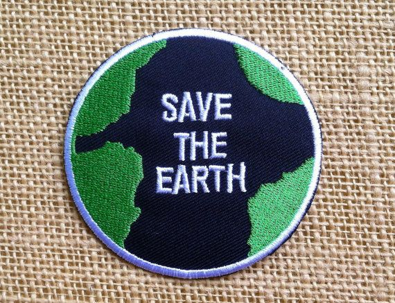 "Earth Patches Save The Earth Iron On Patch for Jackets and Backpacks. Size: 3"" Grunge Hippie Retro Greenpeace 1960s Activists Patches"