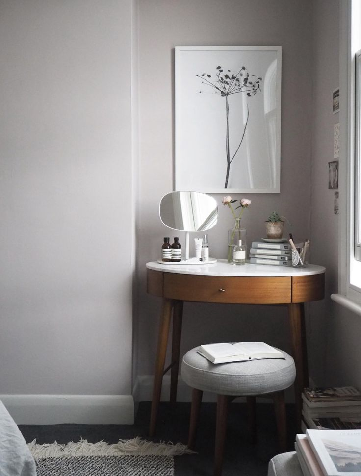 Soft blush pink bedroom reveal BEFORE + AFTER - Farrow & Ball Peignoir - West Elm mid-century furniture - dressing table - Penelope desk