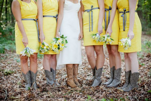 Yellow maids dresses (JCPenney)  cowboy boots from Steve Madden. Love this look.