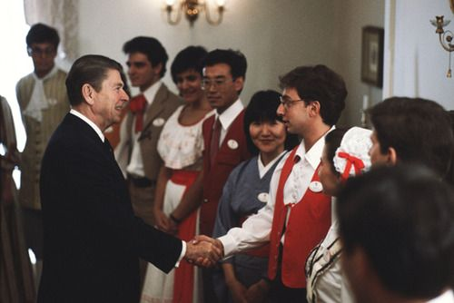 President Ronald Reagan made two visits to Epcot during his presidency. The first took place March 8, 1983, where he appeared at the park to address international students who would work at World Showcase. The President returned in 1985 to hold his second-term inaugural celebration at Epcot, which included a parade around World Showcase.