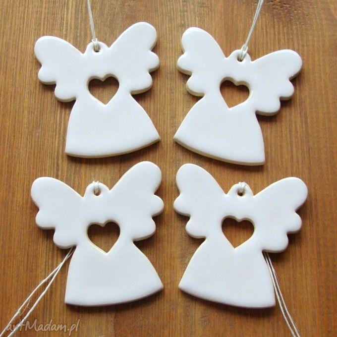 Białe anioły ceramika pracownia ako anioł rękodzieło aniołek