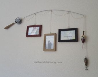 Hang your own letters from the strings to spell out your babys name or hang your own picture frames! Each fishing pole picture frame is hand made to order by me. I build the poles and reels by hand then paint the reels and pole handles. Then I assemble the powdercoated pole frame and waxed cord fishing line along with the pole handle and bobbers/lures to create a one of a kind piece. Fishing pole made of metal wire, fishing line is cotton waxed cord Reel, bobber and/or lure and pole handle…