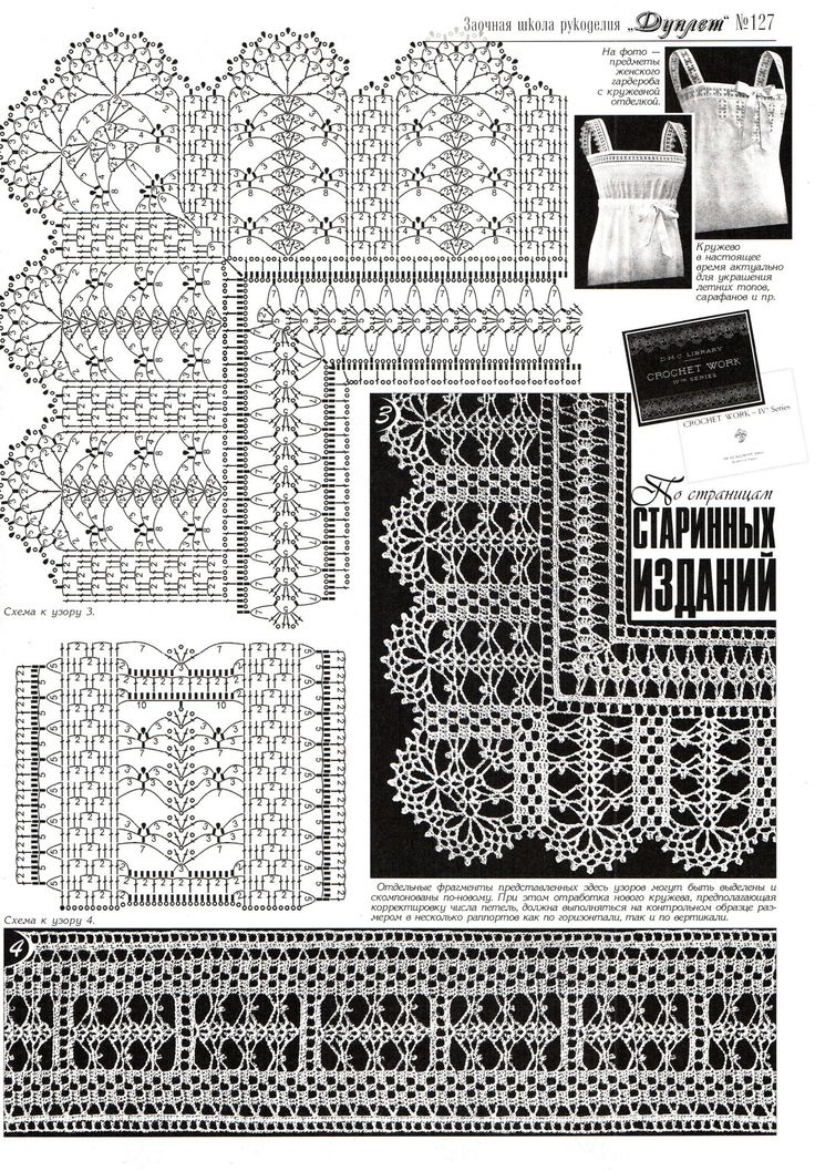Duplet 127 p17 - Beautiful lace edgings from antique publication DMC Library, Crochet Work, 4th series
