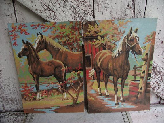 vintage Horses paint by numbers oil paintings set of two