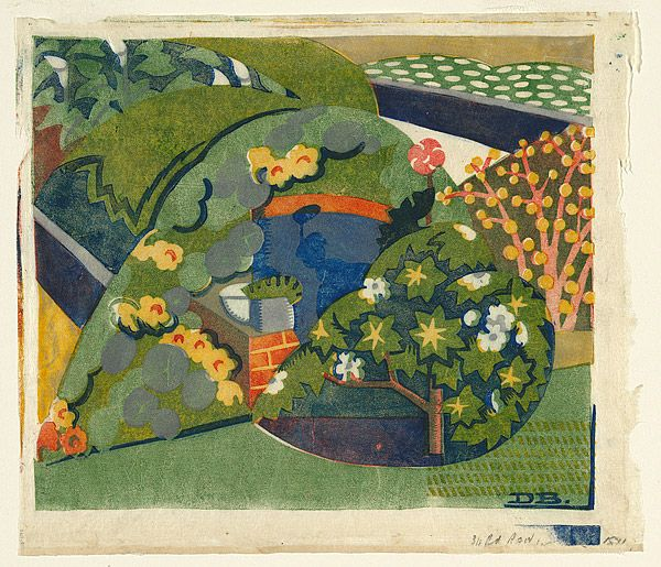 Dorrit Black: Corner of the garden. Linocut, c. 1936.