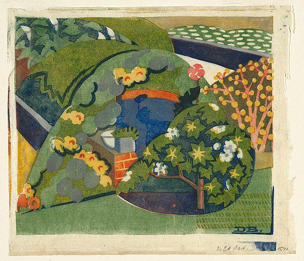 Dorrit Black: Corner of the garden. Linocut, c. 1936.
