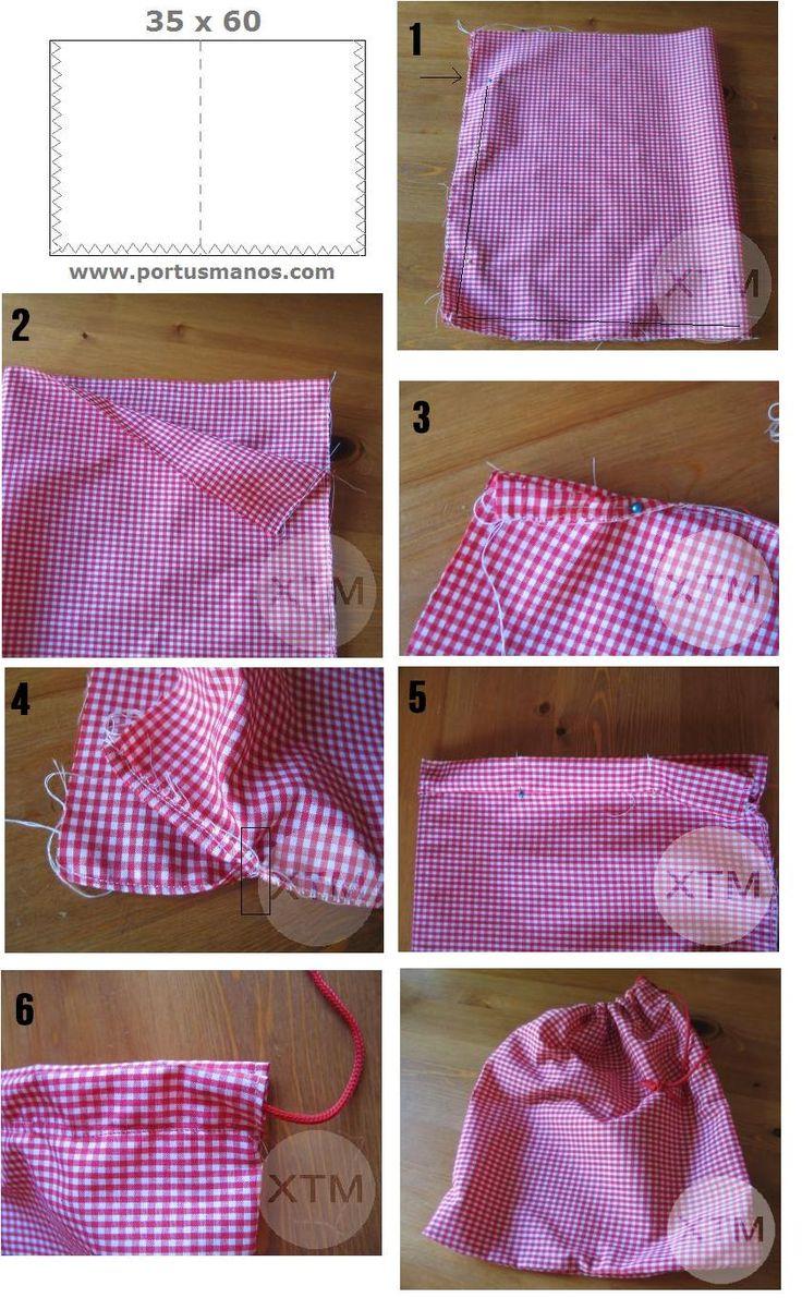 como hacer una bolsa de tela para la merienda