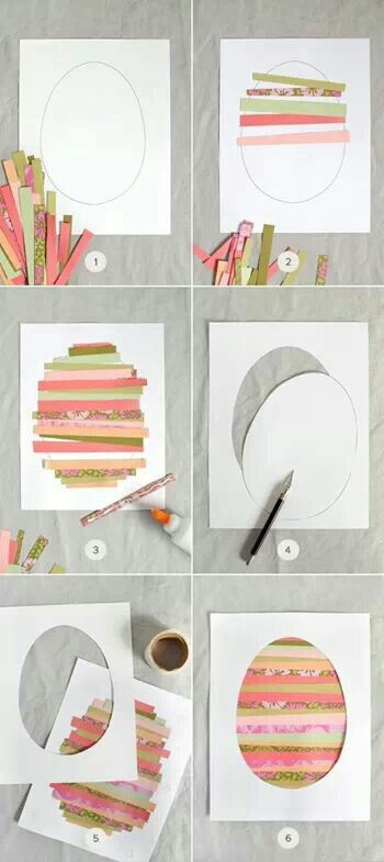 Easter egg cards with printed paper