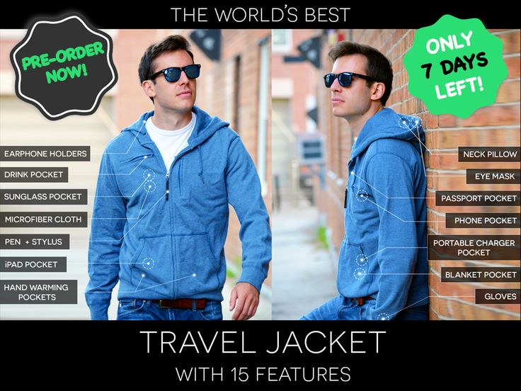 TRAVEL JACKET with built-in Neck Pillow, Eye Mask, Gloves, Earphone Holders, Drink Pocket, Tech Pockets of all sizes! Comes in 4 Styles