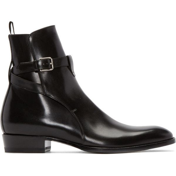 Saint Laurent Black Leather Hedi Boots ($995) ❤ liked on Polyvore featuring men's fashion, men's shoes, men's boots and men