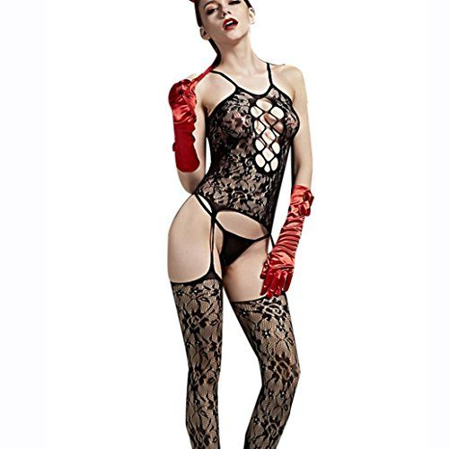 Omiky® 1PC Sexy Lingerie Hollow Crotchless Body stock,Floral Pattern Transparent Mesh Bodysuits for Women ( andlt